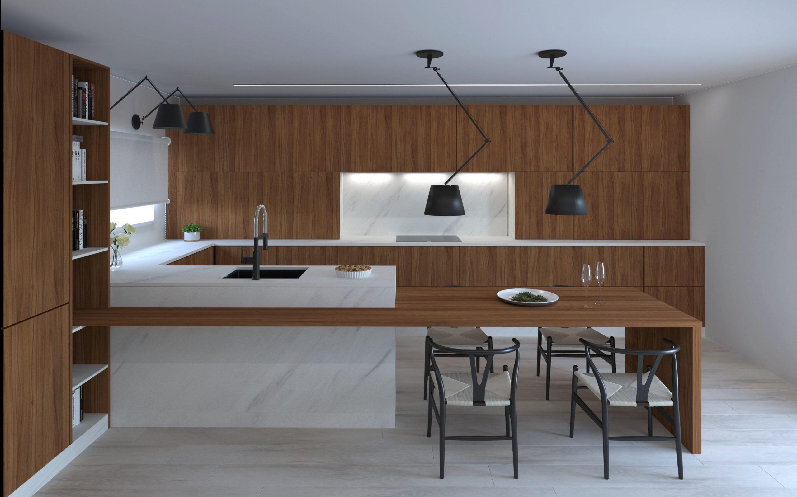 cocina t3 combinación madera oscura