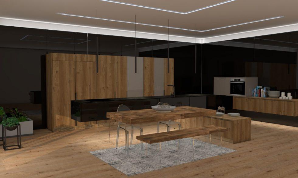 cocina de madera tablero